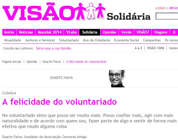A felicidade do voluntariado