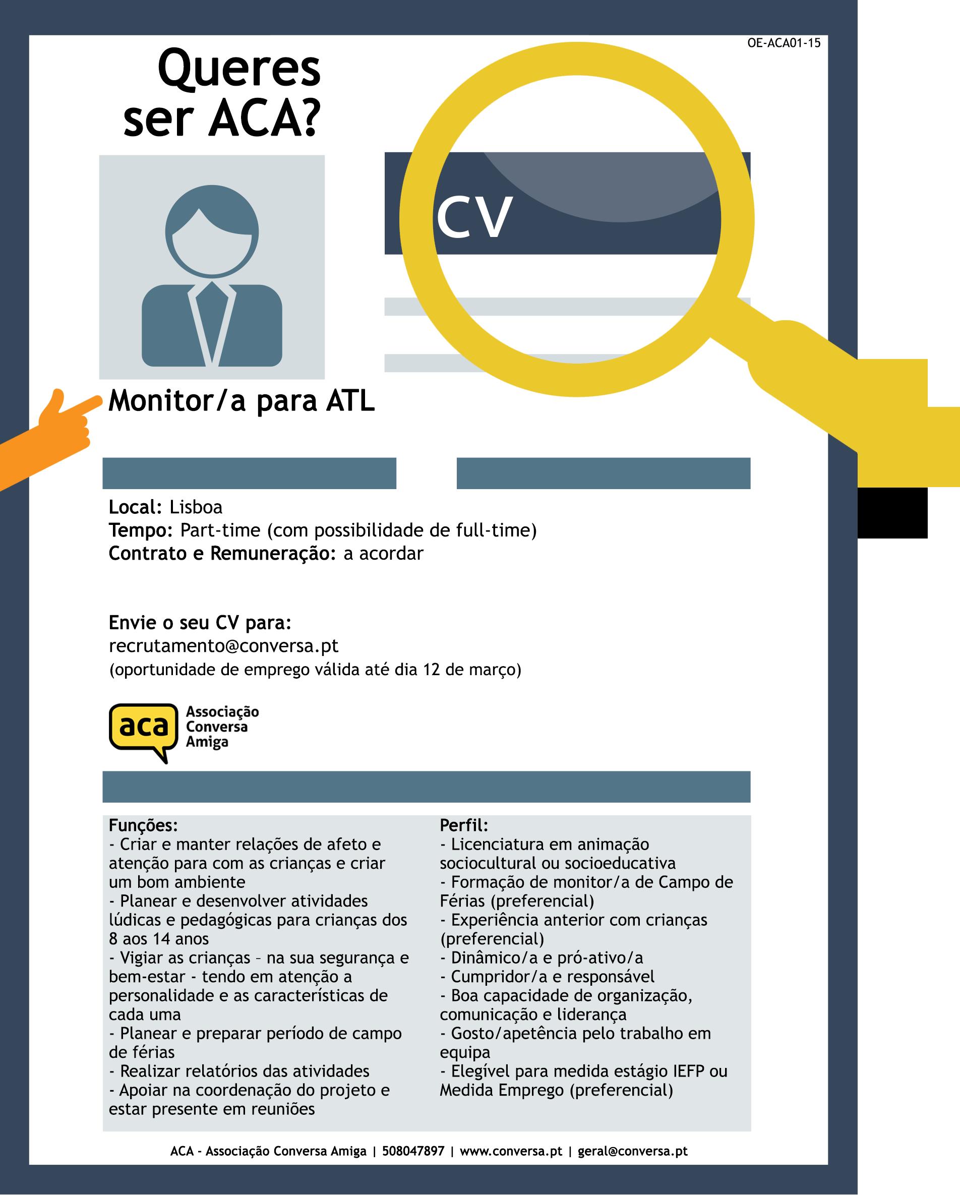 Queres ser ACA? | Oportunidade de Emprego – Monitor/a ATL