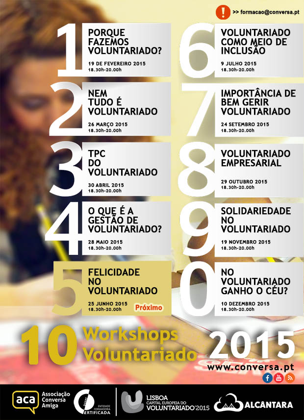 "Workshop: ""Felicidade no Voluntariado"" | 25 de Junho | 18.30h às 20.30h"