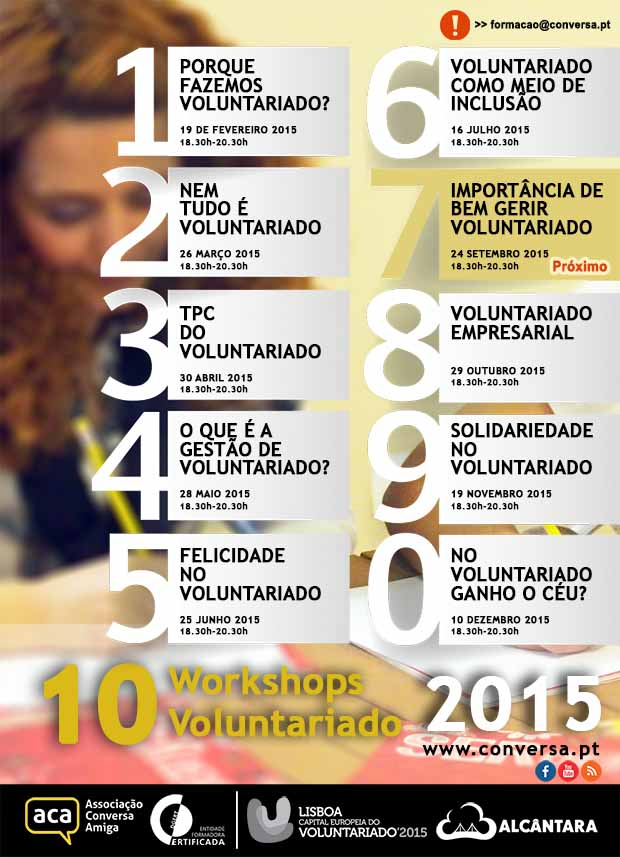 "Workshop: ""A Importância de Bem Gerir Voluntariado"" | 24 de Setembro | 18.30h às 20.30h"