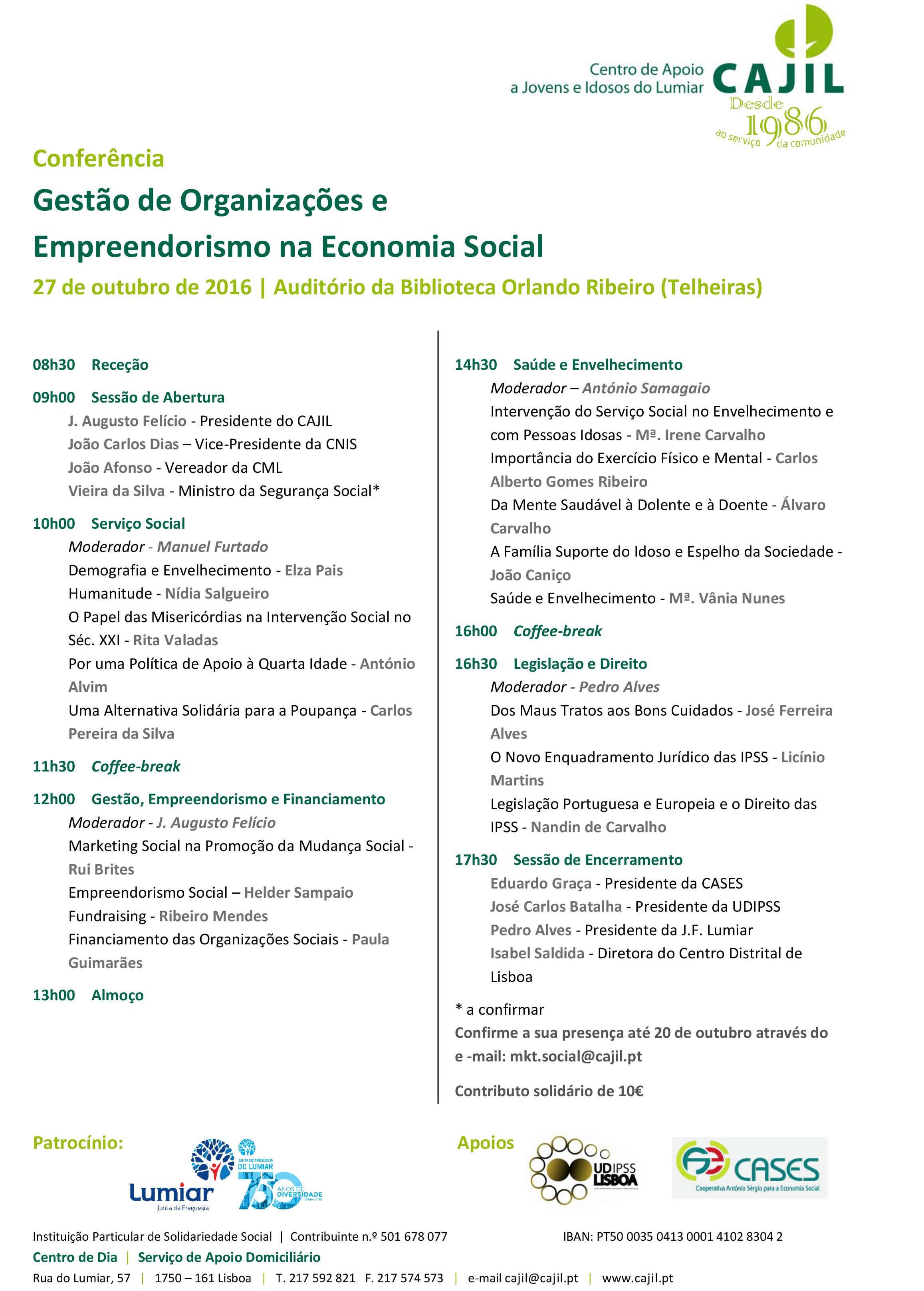 Gestão de Organizações e Empreendorismo na Economia Social