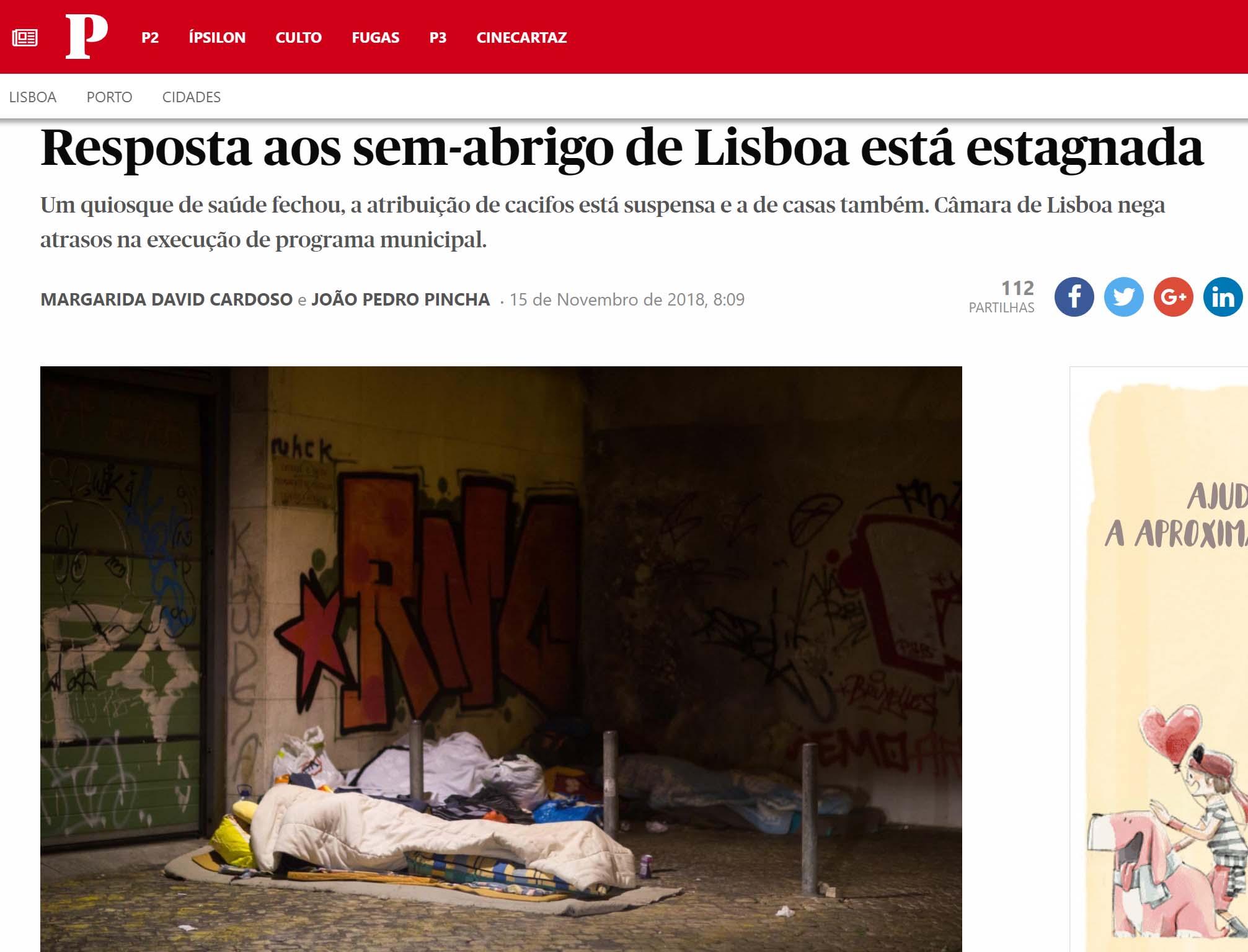 """Público: """"Resposta aos sem-abrigo de Lisboa está estagnada"""""""